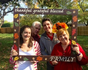 Photo Booth Frame - Thanksgiving Photobooth Frame Prop - Family Photo booth - Fall Photobooth - Thanksgiving Photo Booth - Wood Frame Prop