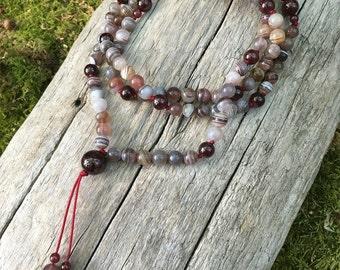 Crazy Lace Agate and Garnet Buddhist Mala Prayer Bead