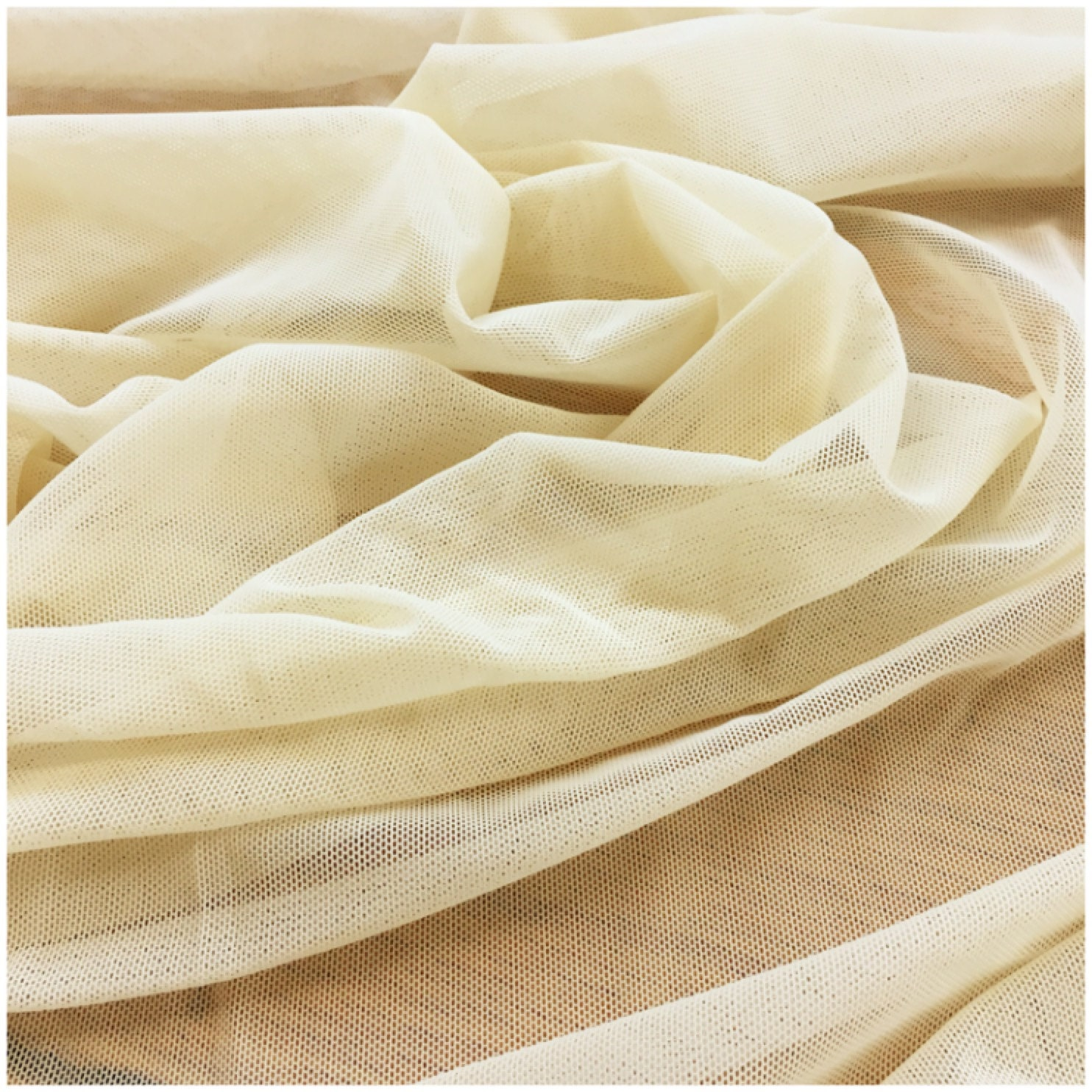 POLY NYLON MESH STRETCH FABRIC NUDE BY THE YARD 1/4 INCH
