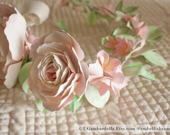 Cream, Pink, Mint Hair Wreath for Bride, Bridesmaids + Flower Girl