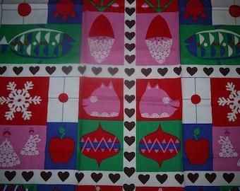 Christmas - Table Cloth - Gitt Lagersson - Santa - Sweden - Swedish Design - Mid Century - Colorful