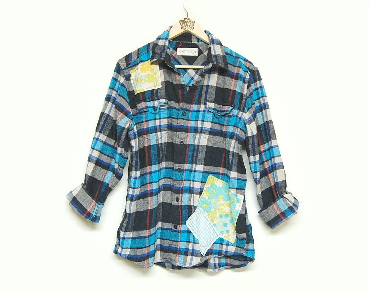 Oversized Flannel Shirt Distressed Plaid Flannel Shirt