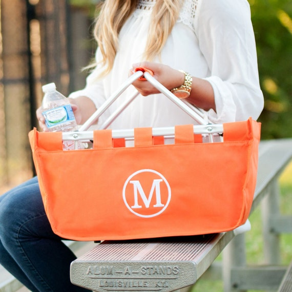Orange Market tote picnic basket tote monogram basket tote personalized tote bag tailgate tote gameday bag college dorm shower caddy basket