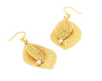24k Gold plated lace leaf dangle earrings - bridesmaids gift