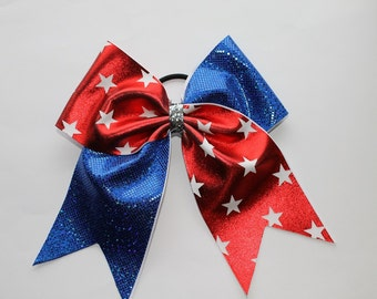 Cheer Bow Red with white stars and Blue hologram