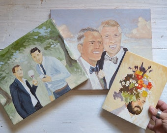 Custom Couple Painting from Photo of Gay Wedding Anniversary Personalized Art