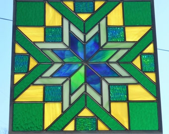 Stained Glass Quilt Block Panel - Handcrafted in Tennessee USA