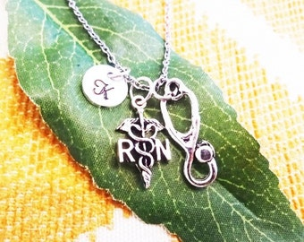 RN STETHOSCOPE NECKLACE in silver tone - personalized with initial charm - registered nurse gift graduate nurse gift - choice of chains