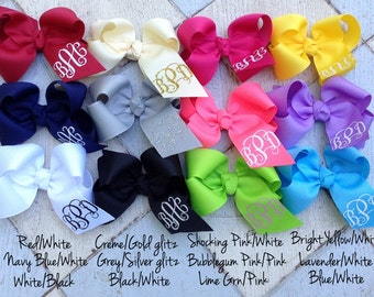 Monogram hair bow, personalized bow, boutique bow
