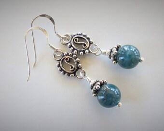 Teal blue Apatite earrings, chandelier, blue-green color, sterling silver 925, Bali sterling, natural healing gemstone, handwrapping