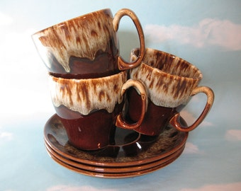 Set Of Three Vintage Brown Drip Coffee Cups With Saucers Tea Cups Hot Chocolate