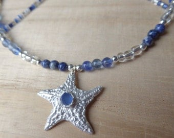 Starfish, Blue Sea Glass necklace