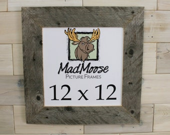 """12x12 BarnWood [Thin x 3""""] Picture Frame       (tags: barn wood frame barnwood frame weathered wood frame rustic frame square frame 12 x 12)"""