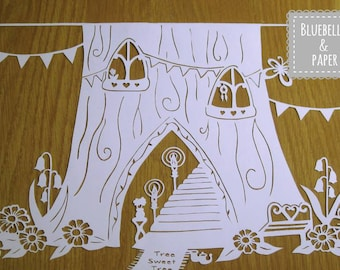 Magical Fairy Tree Paper cut template COMMERCIAL USE