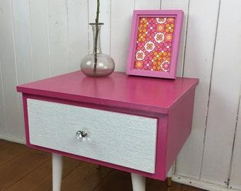 Cute retro bedside in hot pink