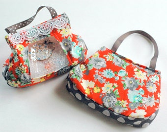 SALE Coral Floral with Gray Dots  I Spy bag
