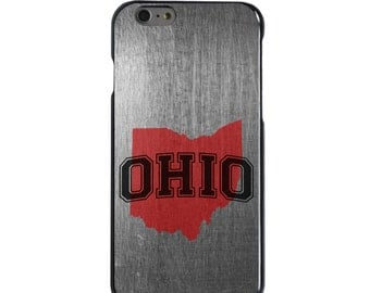 Hard Snap-On Case for Apple 5 5S SE 6 6S 7 Plus - CUSTOM Monogram - Any Colors - Ohio State University Buckeyes Colors - Ohio Outline