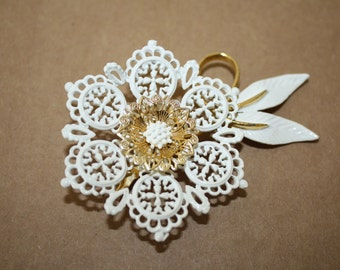 Vintage White and gold  flower pin
