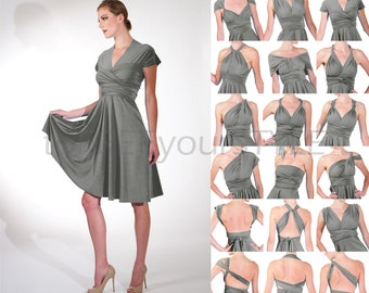 Short convertible dress in STEEL grey gray matte, FULL Free-Style Dress, convertible bridesmaid dress, infinity wrap dress, infinity dress