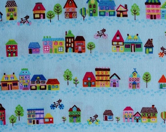 Small Houses in Light Blue - Japanese Fabric - Lightweight Cotton Shirting - Westex - Quilting Fabric