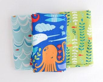 Under the Sea - Monaluna Fat Quarter Bundle - Organic Cotton - Swim - Sea Life - Sea Kelp