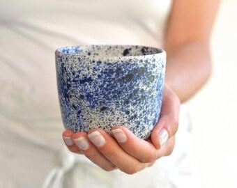 Ceramic tumbler, handmade pottery, Japanese pottery, tea cup, tea bowl, white and blue pottery, ceramic art, modern pottery, ready to ship