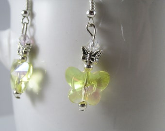 Sunny Yellow Swarovski Crystal Butterfly Dangles