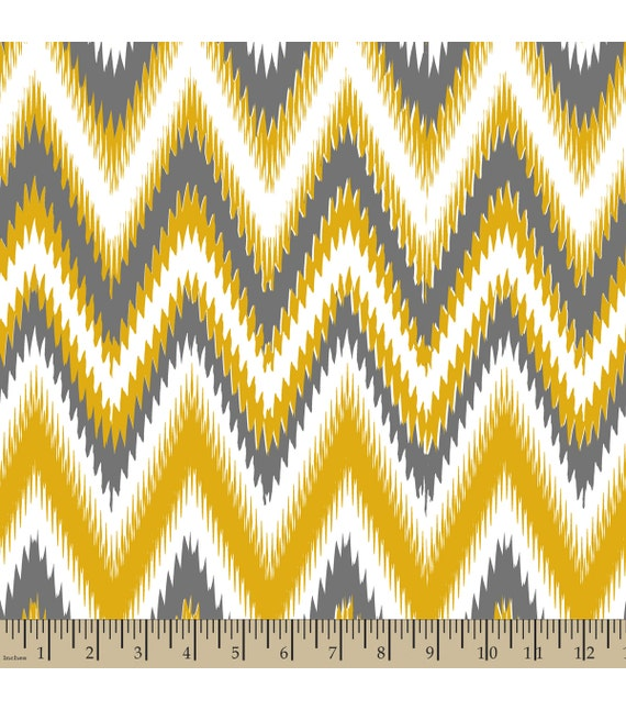 A Set of Ikat Yellow Chevron Print. Seat Covers and Steering Wheel Cover Custom Made.