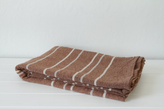 large handwoven cotton striped cream and camel fouta throw vintage