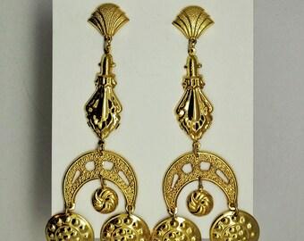 Vintage Goldtone Chandelier Earrings - 4 1/2 inch Shoulder Dusters