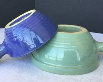 """USA Pottery bowls with handles, 5"""" blue, 6 1/2"""" green, set of two, mid century, vintage"""