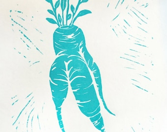 Linocut Print, Block Print, Kitchen Art, Kitchen Illustration, Root Vegetable, Linocut Block Print, Carrot, Radish, Ink