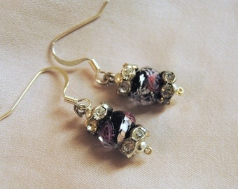 Pink, Black, and Silver Earrings