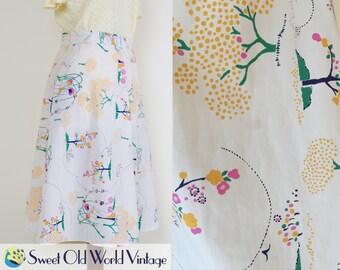 Vintage 70s Landscape Print Skirt || A Line || White || Below Knee || Floaty || 1970s || Spring || Unique Print || Small/Medium Size 8