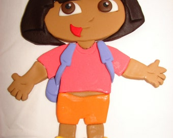 Dora the explorer Fondant Topper 2D - 10 inches long - Great topper to decorate your Birthday Cake. Amazing!!!!