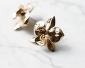 Orchid Earrings- Statement Flower Studs in Silver, Brass, or Bronze