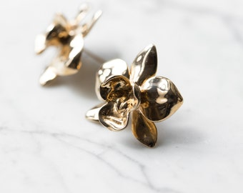 Orchid Earrings- Statement Flower Studs in Silver, Brass, or Bronze