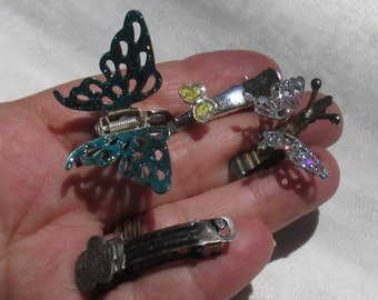 Lot Of Retro Glittery Butterfly Hair Clips Metal Barrette