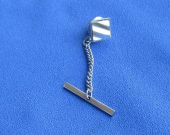 Vintage Textured Square Metal Tie Tack