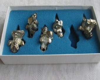 Vintage Lunt Silversmiths Teddy Bear Birthday Candle Holders One Missing In Set