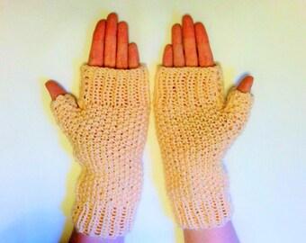 Peach ladies long gloves - gauntlets - fingerless mittens - Light pink