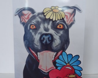 Greetings Card Print - Flowers Happy Staffy yellow - Mother's Day, Easter