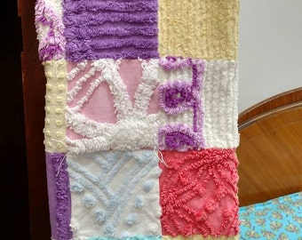 Vintage chenille patchwork quilt tied blanket spring colors Ready to ship