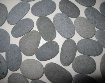 "75 Stones 2"" to 2 1/2"" Smooth, Flat,Oval Beach Rocks,Wishing Stones,River Rock,Wedding Stones, Wedding Decor"