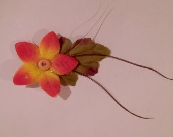 Yellow & Orange Flower Clip with Feathers