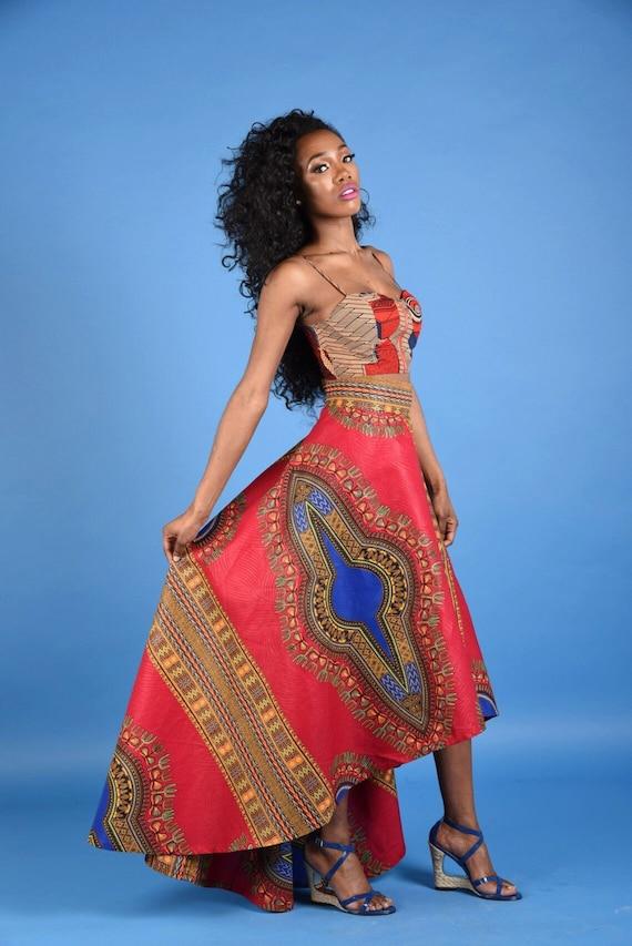 Red Dashiki High low Skirt