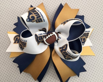 Los Angeles Rams Hair Bow, Girl Hair Bow, Baby Girl Headband !!