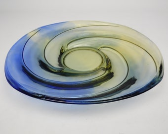 Vintage yellow & blue pressed glass cake/sandwich plate