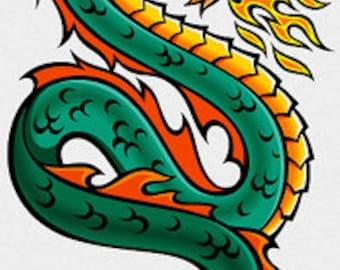 Fire Dragon Cross Stitch Pattern 14 or 18 ct. Aida