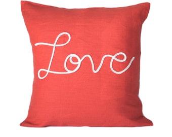 One nautical pillow cover, cushion, decorative throw pillow, decorative pillow, nautical decor,  Coral Pillow, Beach decor, Love Pillow